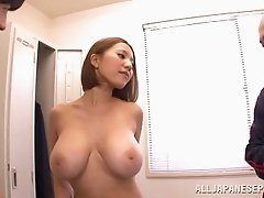 Japanese babe with big tits screwed in MMF threesome while sucking dick