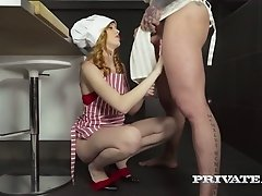 Beefcake cook gets sucked by red haired sweetie Anny Aurora at kitchen