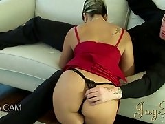 Rapacious blond haired harlot blows staff cock of her stud ardently