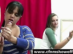 Amateur CFNM girls giving naked dude a handjob