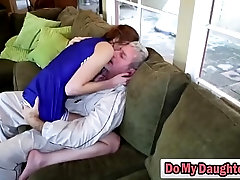 Redhead cutie sucks an older guy and rides him like a nympho