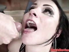 Throated mesh dungeon slave cumswallows