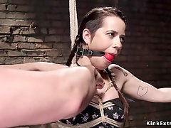 Hogtied busty slave pussy clamped