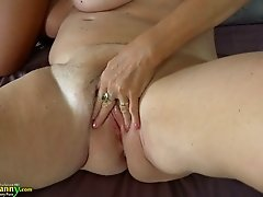 Blond sexy GF fucks fat kinky granny with strapon tough
