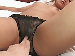 Expert dude fucks young brunette's pussy with a toy