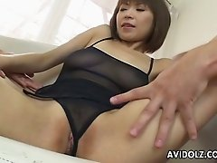 Two horny dudes suck big boobies of stunning short haired Japanese MILF