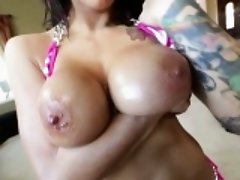 Skank get cum on big tits