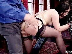 Two slaves fucked in bdsm room