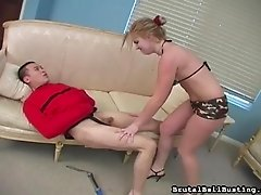 Ball kicking babe blows him too