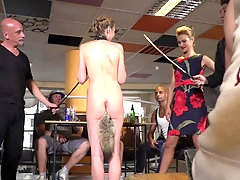 Cherry Kiss and Luca Bella in a hardcore public humiliation session