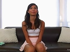 Small tits cutie on the casting couch for cock in her cunt