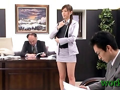 Asian office babe provides her fur pie for real hardcore