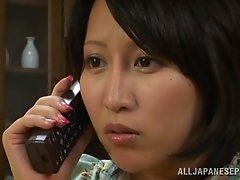 Busty Japanese babe gets pounded by her man in a bedroom