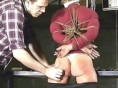Hogtied bondage slut Alice spanked hard by master BDSM porn