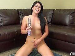 Sexy black high heels on a hot solo brunette toying her pussy