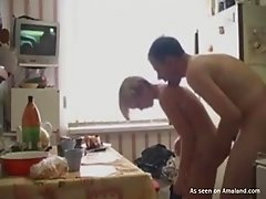 Blonde GF fucking and sucking her BF in the kitchen