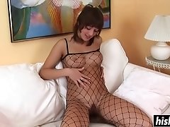 Brunette chick fingers her tight cunt