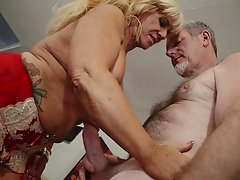 Marvelous granny yells while being drilled hardcore doggystyle
