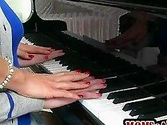 Piano teacher hot threesome with teens