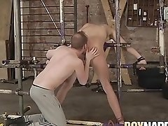 Restrained twink spanked and anally punished by dom
