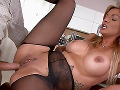 Blonde pornstar having deep anal sex