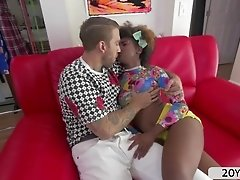 Hot ebony teen Daizy Cooper recieves a hard pussy fuck