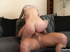 Sweet cutie enjoys having her tight pussy drilled with a fat boner