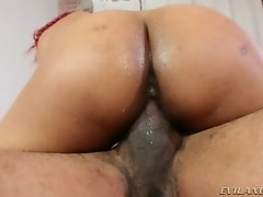 Red haired Latina filth with small tits gets her wet cunt slammed in cowgirl and mish styles