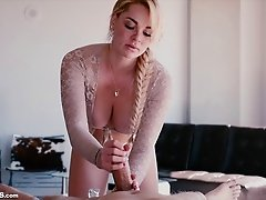 Freckled Skyla Novea jerks him off and climbs aboard