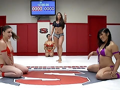horny girls and Juliette March enjoy hardcore lesbian foursome on the floor
