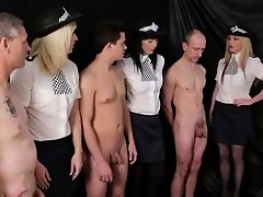 Policewomen stroke cocks