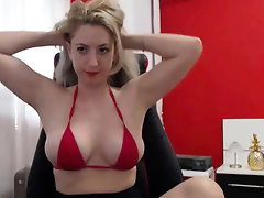 Horny amateur blonde with big nipples fucked on cam No sound