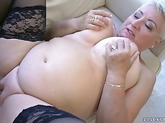 Grey haired whorable bitch with super saggy tits Astrid is fucked doggy