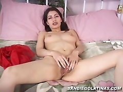 Sexy Latina Heaven pleases herself with fingering in solo vid