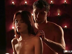 Redhead skinny babe Dominica Phoenix massages and rides her man