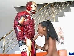 Iron Man takes a black girl home for hardcore costume sex