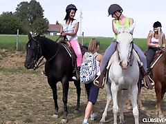 Lesbian teen outdoor foursome with Susan G and her slutty friends