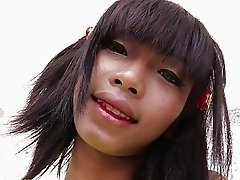 Ladyboy huge dildo and cock up her ass