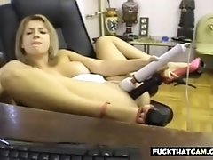 Horny Girl Fucks Her Sweet Beaver With Her Toy