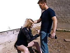 Outdoor hardcore blowjob and doggy fuck with Carly Rae and her man