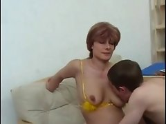 Red Haired Russian Mom Fucks With Her Young Un !