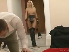 Well shaped blond slut had awesome MMF in bedroom