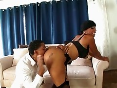 Big tits ebony milf gives a titty fuck then gets hammered hardcore