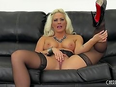 Wicked hot skintight dress and stockings on a blonde fuck slut