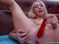 Amateur Blonde Babe Dildo Fucking And Sucking