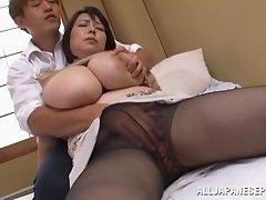 Mature BBW slut Misuzu Tomizaw gets fucked and tits creamed