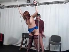Tied up sub slut mouth fucked hard by master BDSM