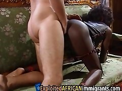 Delicious african immigrant got double penetration while moaning from pleasure