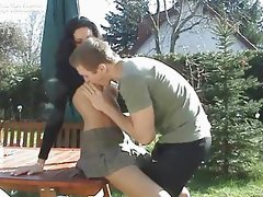Sweet brunette amateur fucking outside