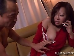 Pretty Japanese woman with a sexy body getting her hairy pussy fingered